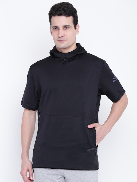 ADIDAS Men Black Workout SS Solid Hooded Sweatshirt