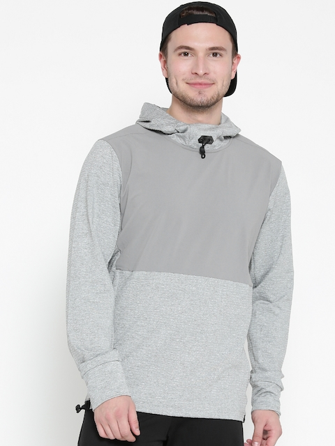 Adidas Men Grey Melange Workout OTH Solid Hooded Sweatshirt