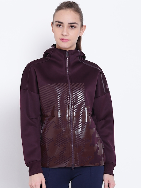 Stella McCartney by Adidas Women Aubergine Z.N.E. Printed Hooded Sweatshirt