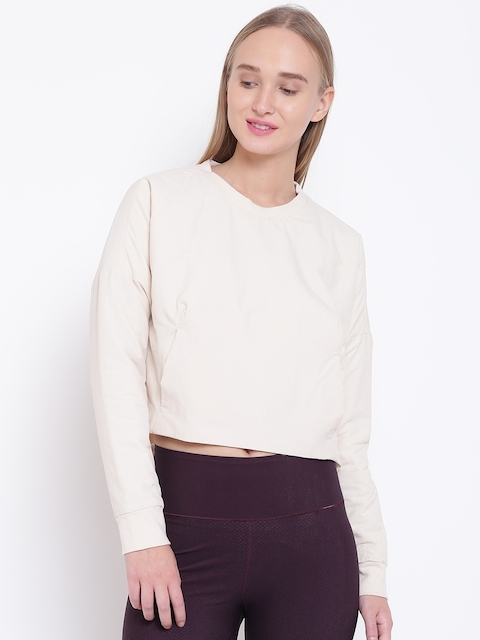 Adidas Women Beige Cocoon Crop Solid Sweatshirt