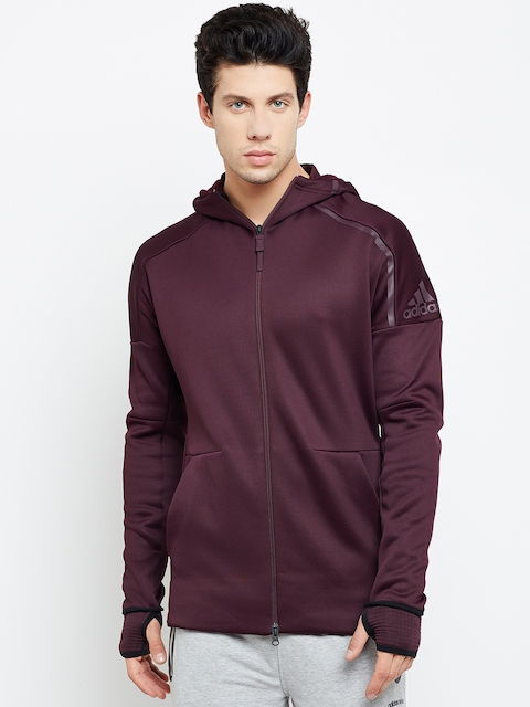 Adidas Men Burgundy ZNE Heat Solid Hooded Sweatshirt