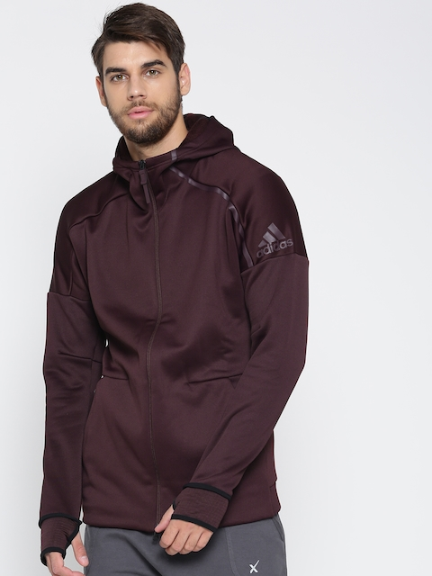 Adidas Men Burgundy ZNE Heat Solid Hooded Sweatshirt