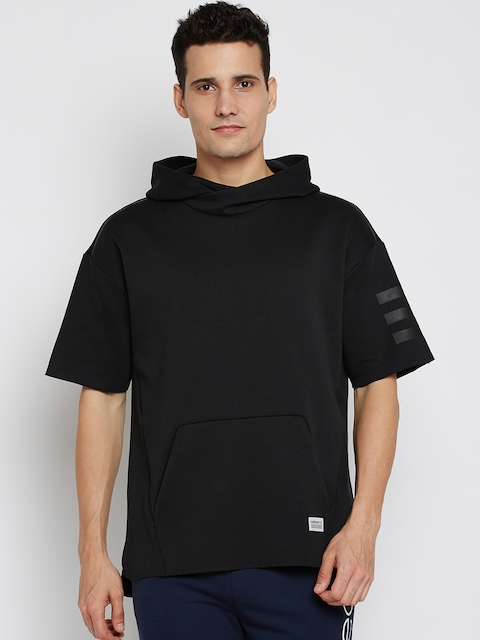 ADIDAS NEO Men Black Solid UT NON RIB Hooded Sweatshirt