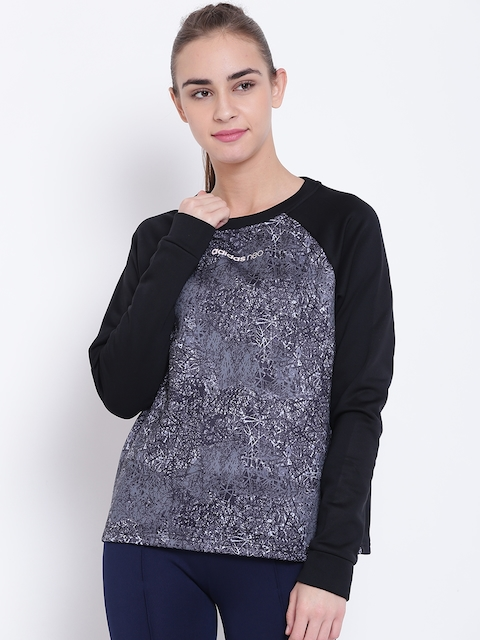 Adidas NEO Women Black & Grey STD AOP Printed Sweatshirt