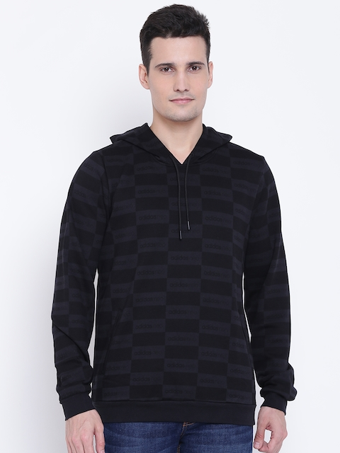 Adidas NEO Men Black & Charcoal Grey Checked Hooded Sweatshirt