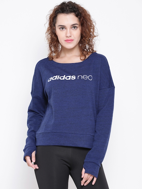 Adidas NEO Women Blue CE Printed Sweatshirt