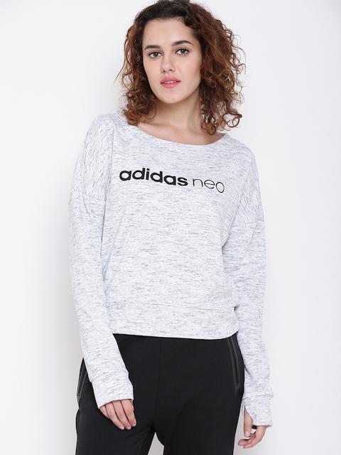 Adidas NEO Women Grey Melange CE FT Printed Sweatshirt