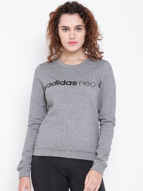 Adidas NEO Women Grey Melange CE Printed Sweatshirt