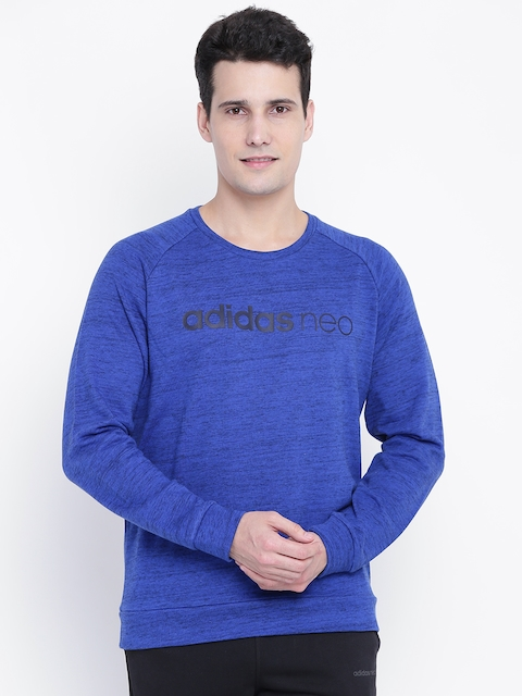 Adidas NEO Men Blue CE ML Printed Sweatshirt