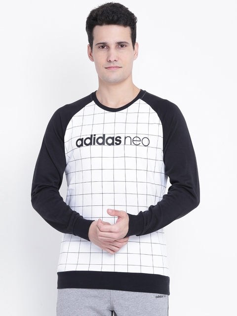Adidas NEO Men White & Black CE WC Checked Sweatshirt