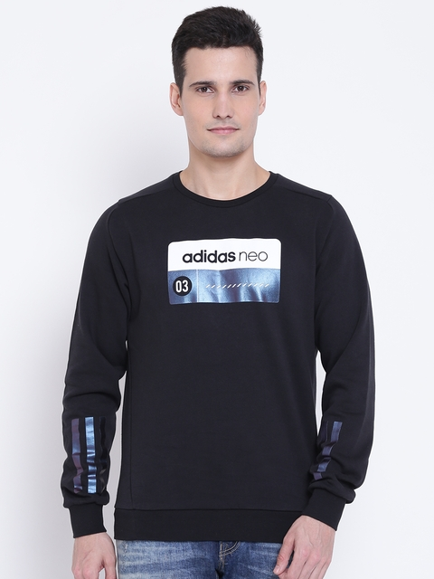 Adidas NEO Men Black CS CLR SFT Printed Sweatshirt