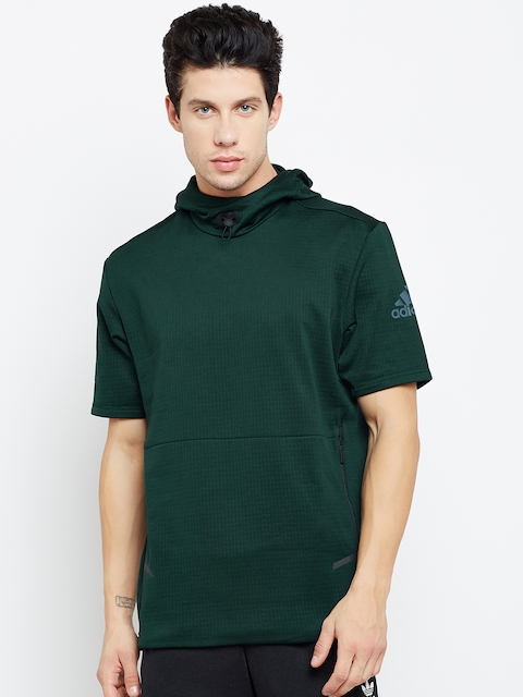 Adidas Men Green Workout SS Heat Hooded Sweatshirt