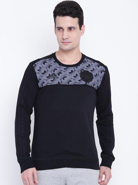 Adidas Men Black & Grey MUFC SS Printed Sweatshirt