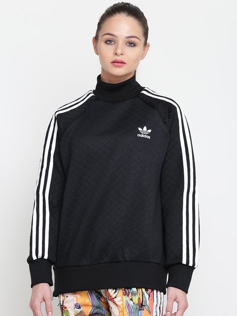 Adidas Originals Women Black Solid Sweatshirt