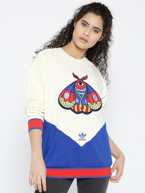 Adidas Originals Women Cream-Coloured & Blue EA Colourblocked Sweatshirt