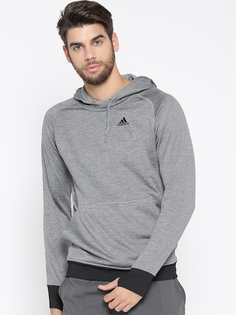Adidas Men Grey Melange Winter Off Solid Hooded Sweatshirt