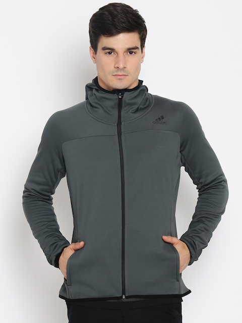 Adidas Men Grey Solid Hooded Sweatshirt