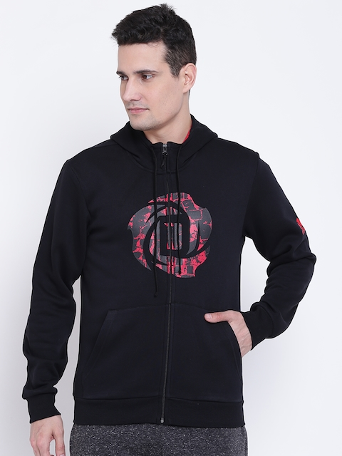Adidas Men Black Rose Shooter Printed Hooded Sweatshirt