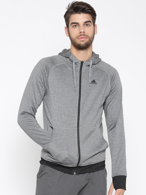 Adidas Men Grey Melange Winter Off Hooded Sweatshirt