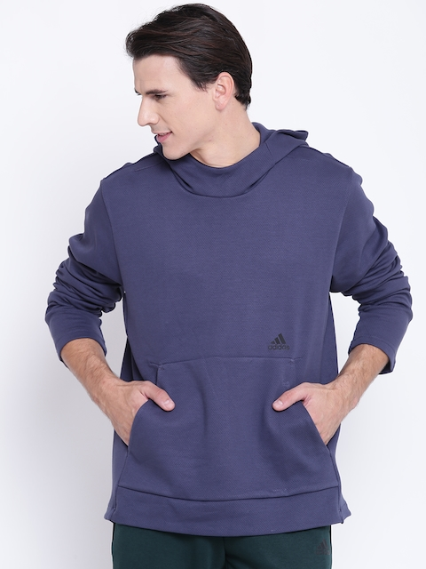 Adidas Men Blue ID Champ Hooded Sweatshirt