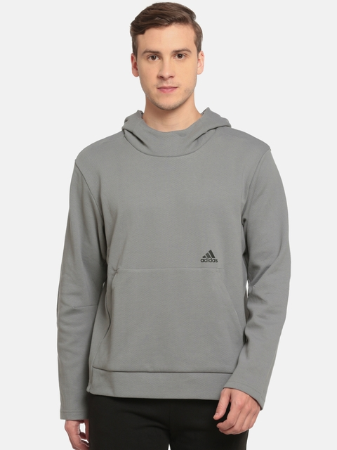 Adidas Men Grey Self-Design ID CHAMP HOODIE Sweatshirt