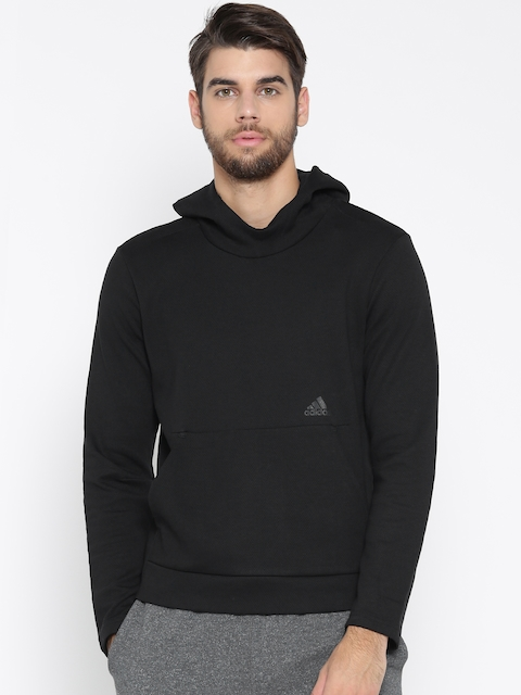 Adidas Men Black ID CHAMP Solid Hooded Sweatshirt