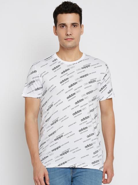 Adidas NEO Men White & Black Mono Brand Printed Round Neck T-shirt