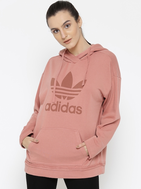 Adidas Women Pink Seamless Printed Hooded Sweatshirt
