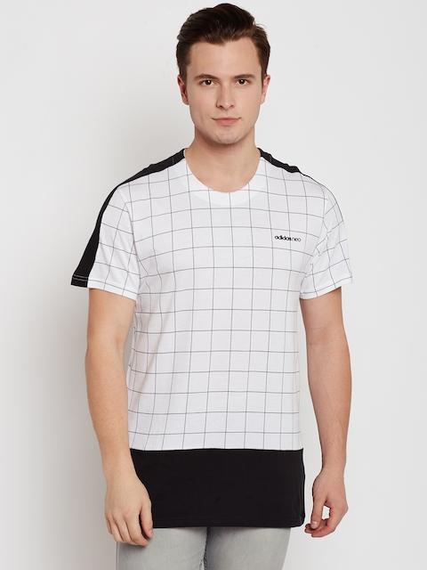 Adidas NEO Men White CS WC Checked Round Neck T-shirt
