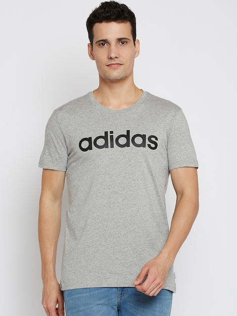 ADIDAS NEO Men Grey Melange CE SS Printed Round Neck T-shirt