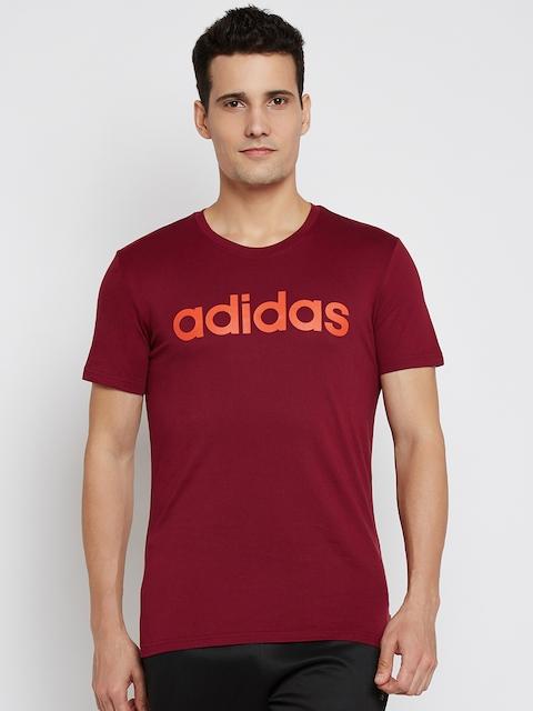 Adidas NEO Men Maroon CE SS Printed Round Neck T-shirt
