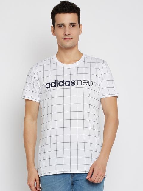 Adidas NEO Men White CE ANEO WC Checked Round Neck T-shirt