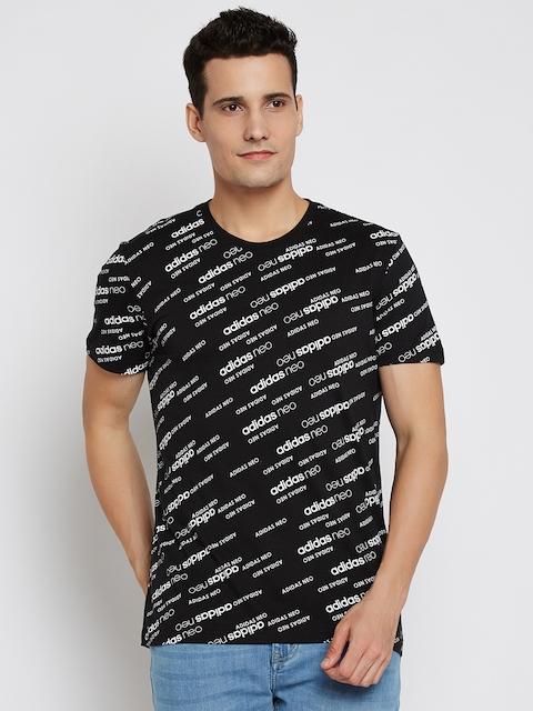 Adidas NEO Men Black & White Mono BRND Printed Round Neck T-shirt