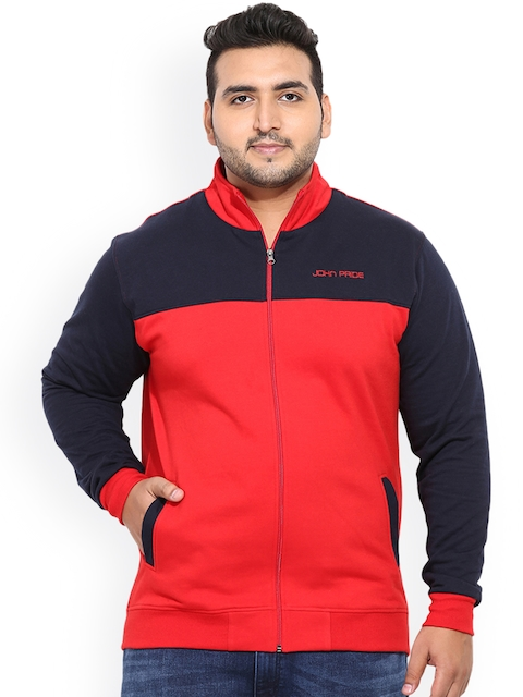 John Pride Men Red & Navy Blue Colourblocked Sweatshirt