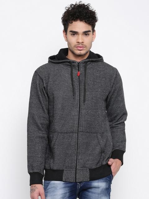 Sports52 wear Men Black Self Design Hooded Sweatshirt