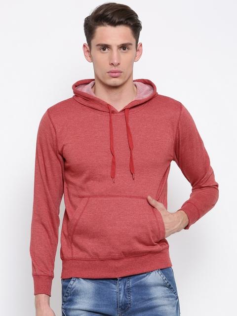 Sports52 wear Men Red Solid Hooded Sweatshirt