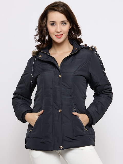 Fort Collins Women Navy Solid Hooded Parka Jacket