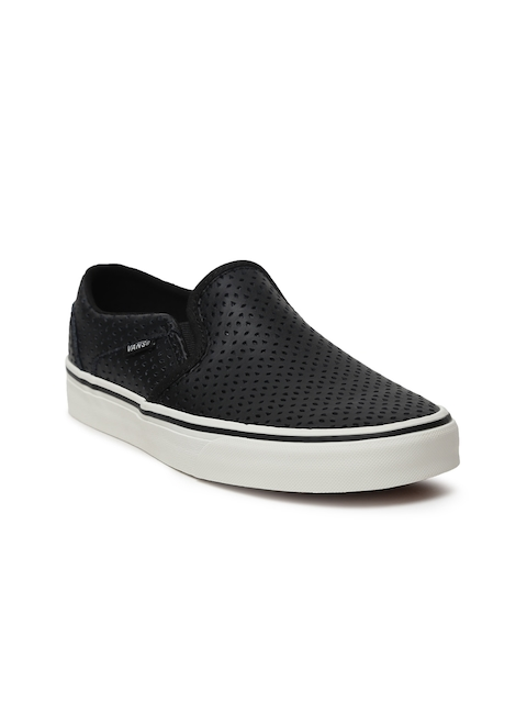 Vans Women Black Asher Leather Slip-On Sneakers with Cut-Outs