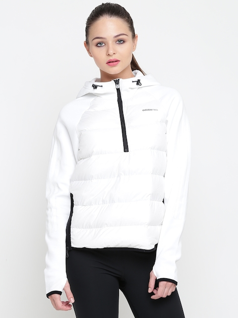 Adidas NEO Women White CS DDW ANORAK Solid Puffer Jacket