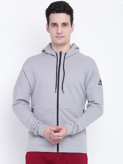 Adidas Men Grey ID Stadium FZ Solid Hooded Sporty Jacket
