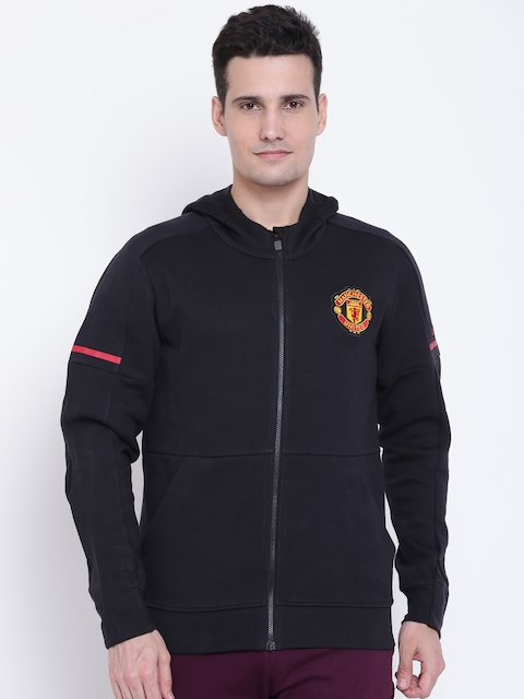 Adidas Men Black MUFC H ANTH SQD Solid Hooded Sweatshirt