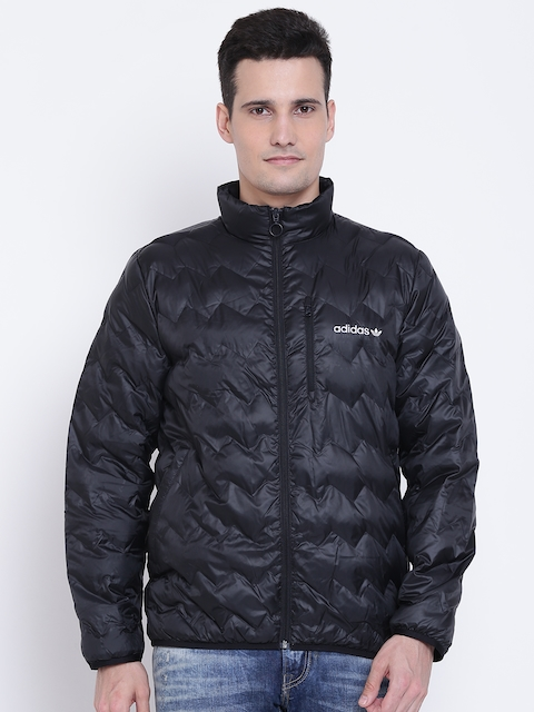 Adidas Originals Men Black SERRATED Solid Quilted Jacket