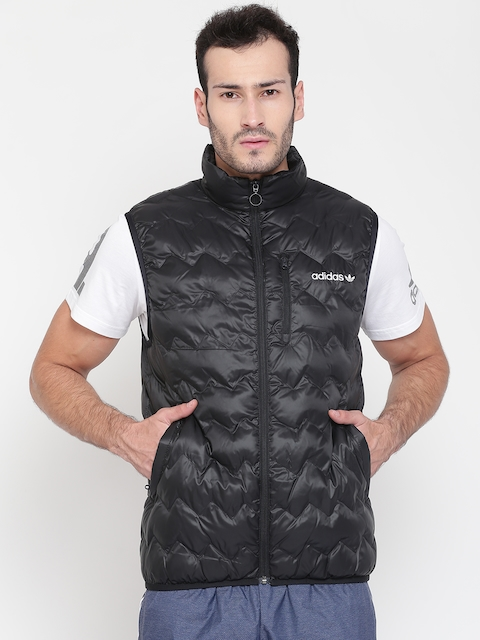 Adidas Originals Men Black SERRATED Solid Quilted Vest Jacket