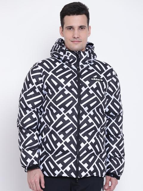 Adidas Originals Men Black AOP Printed Hooded Puffer Jacket