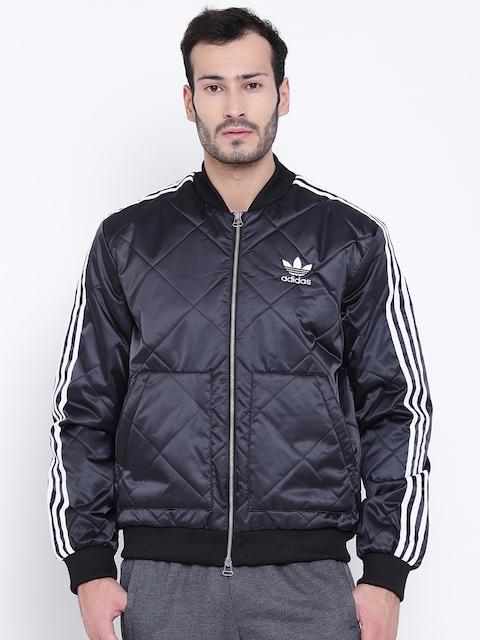Adidas Originals Men Black SST PRE Solid Quilted Jacket
