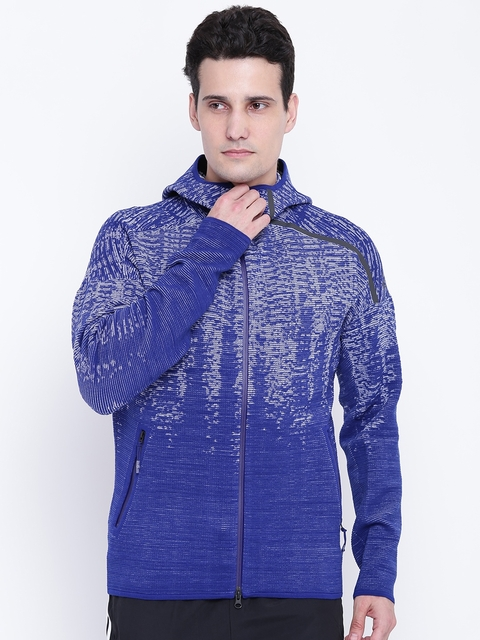 Adidas Men Blue ZNE Pulse KN Patterned Hooded Sporty Jacket