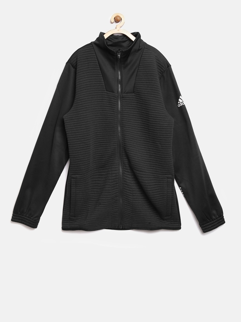 Adidas Boys Black X Track Self-Striped Sporty Jacket