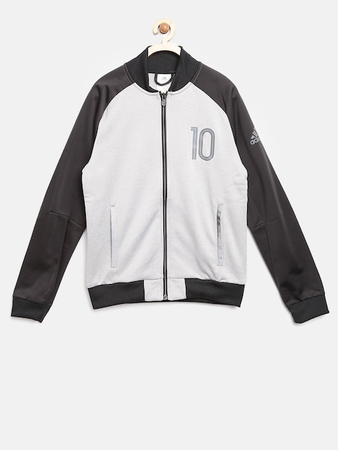 Adidas Boys Grey Melange & Black YB M Printed Sweatshirt