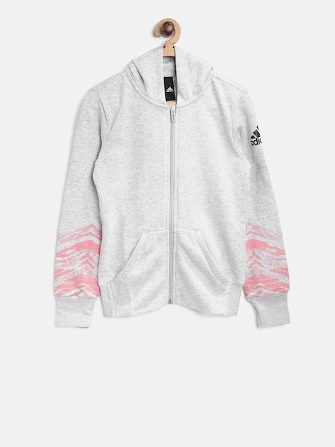 Adidas Girls Grey Melange Solid Hooded Sweatshirt