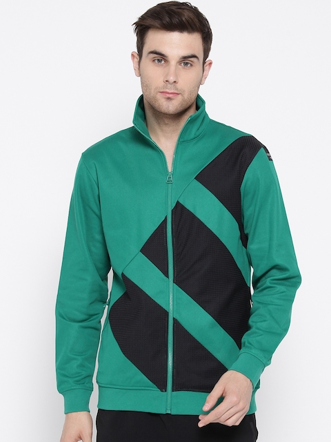 Adidas Originals Men Green & Black EQT Colourblocked Track Bomber Jacket